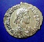 A coin with the image of Valentinian III (c)1998 Princeton Economic Institute