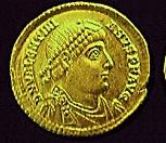 A coin with the image of the Emperor Valentinian I (c)1998 Princeton Economic Institute